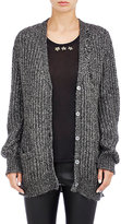 Saint Laurent Women's Distressed Open-Knit Cardigan-GREY