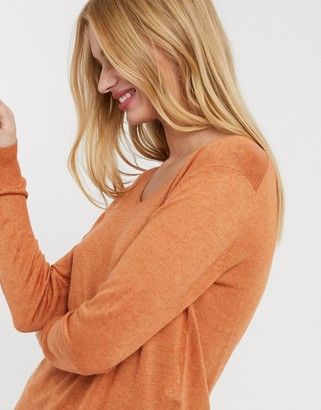 Selected linel v neck sweater in rust