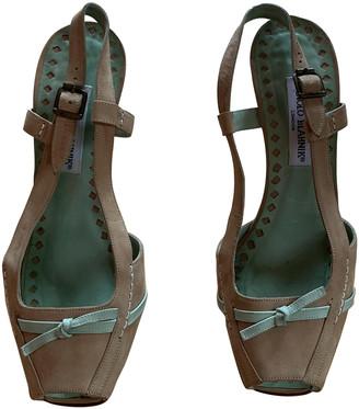 Manolo Blahnik Beige Suede Sandals