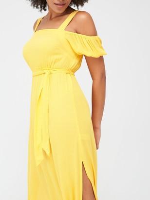 Very Cold Shoulder Crinkle Beach Dress