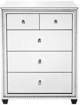 "clear Elegant Furniture & Lighting 31.5"" Crystal Five Drawers Cabinet, Mirror Finish"