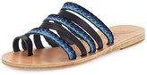Ancient Greek Sandals Niki Braided Toe-Ring Slide Sandal, Blue Pattern