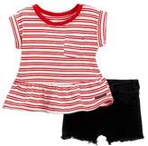 Hudson Striped Jersey Top & Shorts Set (Baby Girls)
