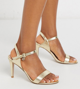 Miss KG wide fit barely there heeled sandals in gold