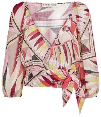 Emilio Pucci Printed Tie-Front Top