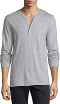 Vince Long-Sleeve Button-Front Henley, Heather Gray