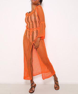 Misell Women's Swimsuit Coverups ORANGE - Orange Openwork Long Bell-Sleeve Wool-Blend Cover-Up - Plus