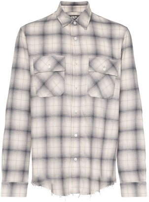 Amiri Flannel Frayed-Hem Plaid Shirt