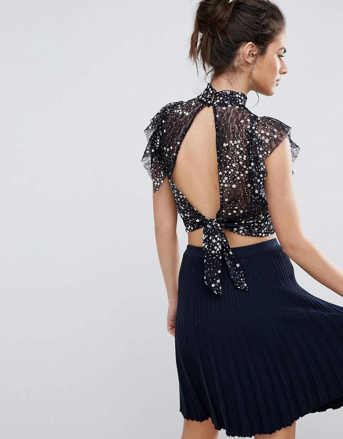 TFNC High Neck Top With Embroidery And Frill Detail