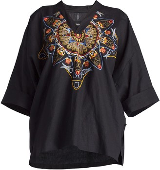Gisy Amsterdam Spring Mandala Embroidered Linen Kimono Top Black