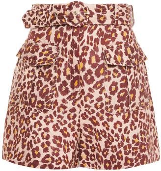 Zimmermann Resistance Safari Belted Leopard-print Linen Shorts