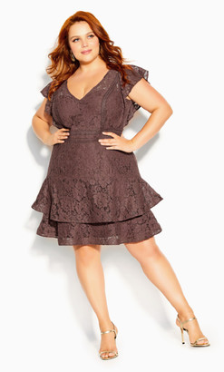 City Chic Sienna Dress - mocha