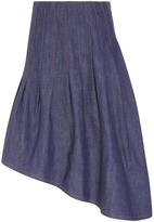 Suno Asymmetric Denim Midi Skirt