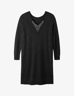 The White Company Embellished V-back knitted dress