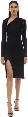 Versace Shiny Viscose Jersey Midi Dress W/pins