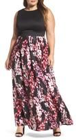 Sangria Plus Size Women's Floral Fit & Flare Maxi Dress