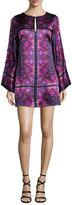 Nanette Lepore Printed Silk Satin Shift Dress, Eggplant/Multicolor