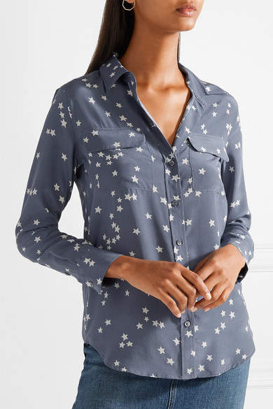 Equipment Slim Signature Printed Washed-silk Shirt - Storm blue