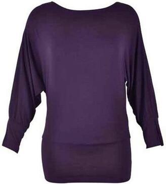 Crazy Girls Women's Long Sleeve Off Shoulder Plain Batwing Top - White - Medium/Large-12/14