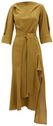 Petar Petrov Amee Open-back Crinkled Silk-crepe Dress - Khaki