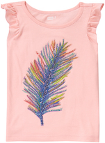 Crazy 8 Strawberry Cream Feather Flutter-Sleeve Top - Girls