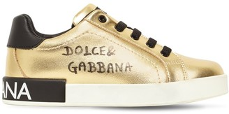 Dolce & Gabbana Metallic Leather Lace-up Sneakers