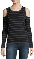 Neiman Marcus Cashmere Striped Cold-Shoulder Top