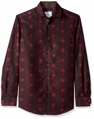 Azaro Uomo Men's Printed Dress Shirt Casual Button Down Slim Fit Gents Long