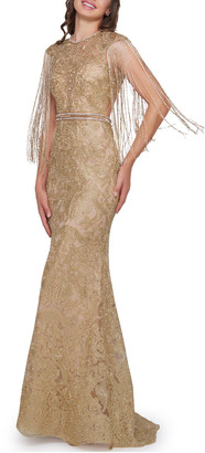 Mac Duggal 6-Week Shipping Lead Time Metallic Crewneck Beaded Fringe-Sleeve Open-Back Trumpet Gown