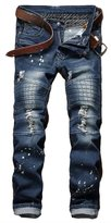 HerQueen Men Jeans Flap Pocket Distressed Stitching Straight Bootcut Motor Pants