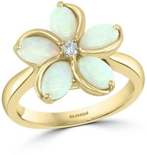 Effy Opal (1-3/8 ct. t.w.) & Diamond (1/20 ct. t.w.) Flower Ring in 14k Gold