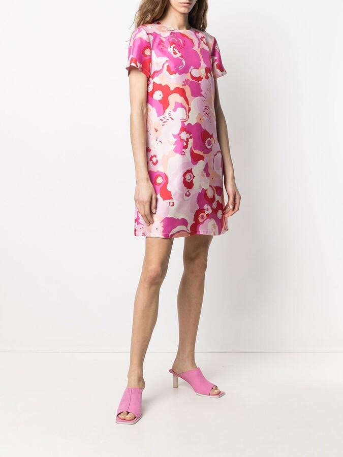 Thumbnail for your product : La DoubleJ Floral Shift Mini Silk Dress