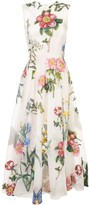 Oscar de la Renta sleeveless brocade floral dress