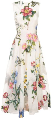 Oscar de la Renta sleeveless brocade floral dress