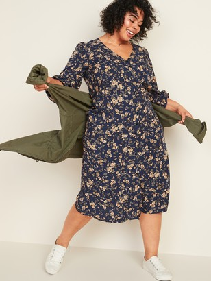 Old Navy Waist-Defined Floral-Print Button-Front Plus-Size Midi Dress