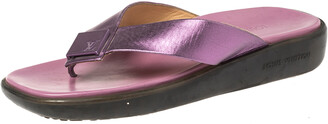 Louis Vuitton Purple Leather Thong Flats Size 40