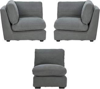OKA Savile Sofa Chair and Corner Unit Set - Charcoal