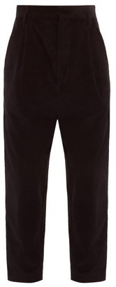 Raey Exaggerated Tapered-leg Corduroy Trousers - Black