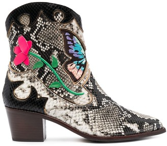 Sophia Webster Snakeskin Western Boots With Embroidery Detail