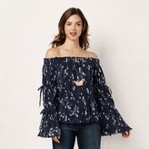 Lauren Conrad Women's Smocked Off-the-Shoulder Top