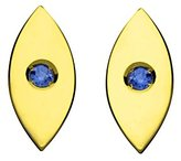 Jennifer Zeuner Jewelry Women's 18ct Yellow Gold Plated Silver Round Blue Sapphires Nazar Stud Earrings