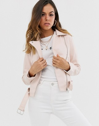 New Look PU biker jacket in soft pink-Tan