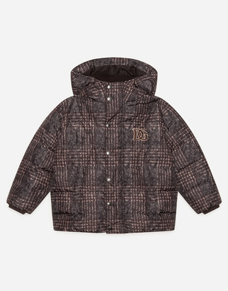 Dolce & Gabbana Long Nylon Down Jacket With Check Print