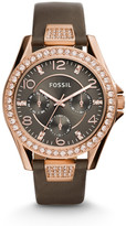 Fossil Riley Multifunction Gray Leather Watch
