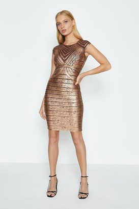 Coast Bandage Metallic Body Con Dress