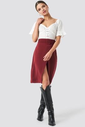 NA-KD Belted Overlap Skirt Red