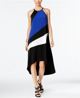 INC International Concepts Petite Colorblocked High-Low Halter Dress, Only at Macy's
