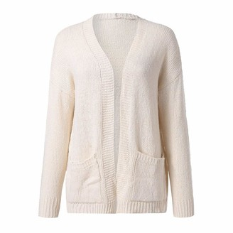 Rikay Women Sweater Rikay Womens Chunky Cable Knitted Cardigans Open Front Long Sleeve Sweater with Pockets Size S-3XL Gifts for Women Beige