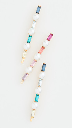 LELET NY Glass Pearl Baguette Pin Set of 3