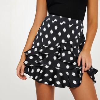 River Island Womens Black spot frill detail mini skirt